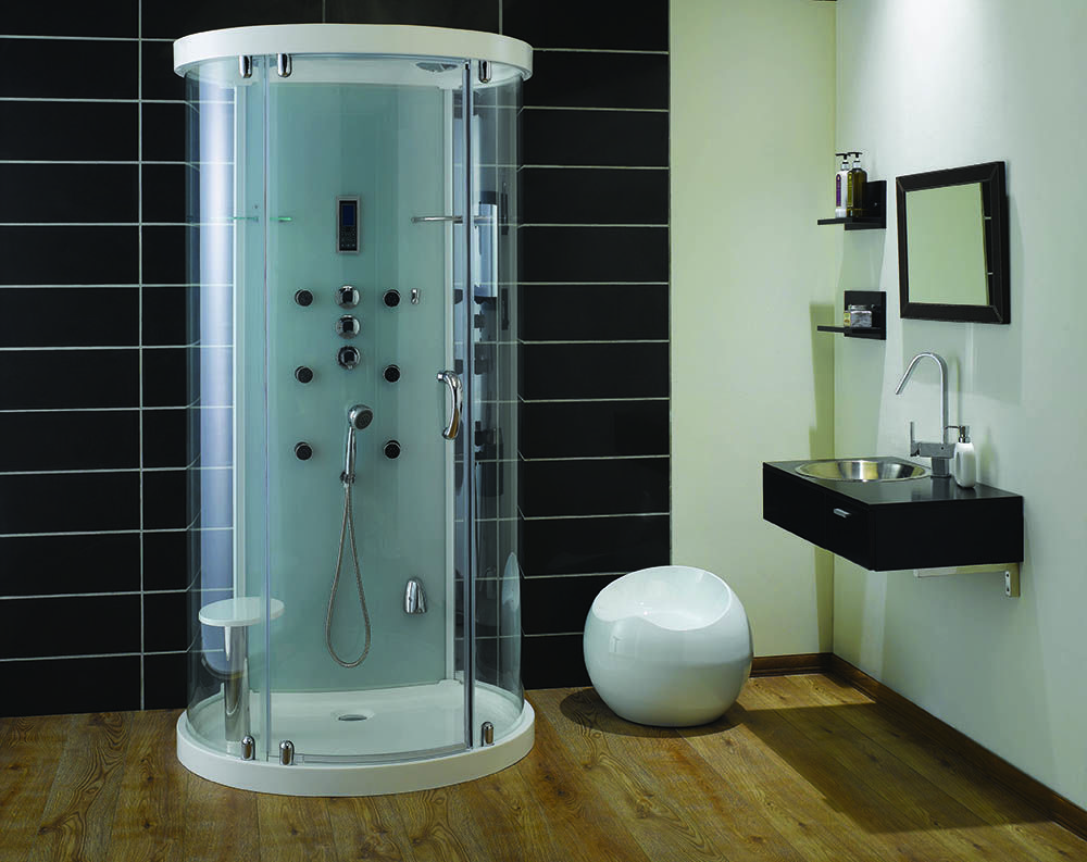Free Standing Round Shower Stall Bathroom & Toilet
