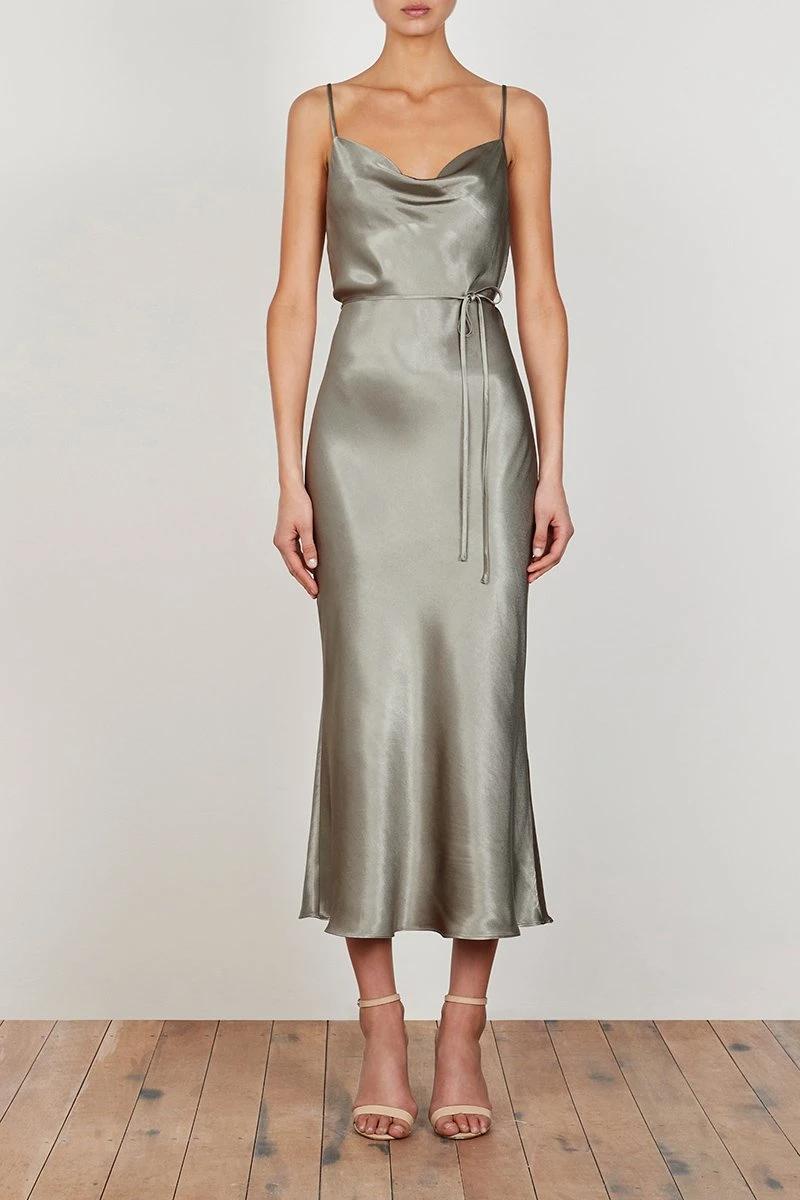 La Lune Bias Cowl Midi Dress Sage In 2021 Midi Bridesmaid Dress Silk Bridesmaid Dresses Olive Green Bridesmaid Dresses [ 1200 x 800 Pixel ]