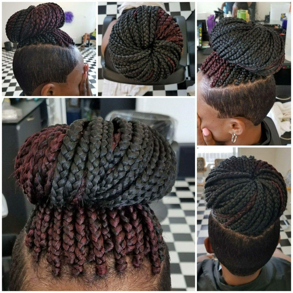 Short Braided Hairstyle Box Braids Shaved Sides Braids With