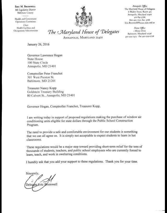Letter Of Support From Delegate Christian Miele  Support For