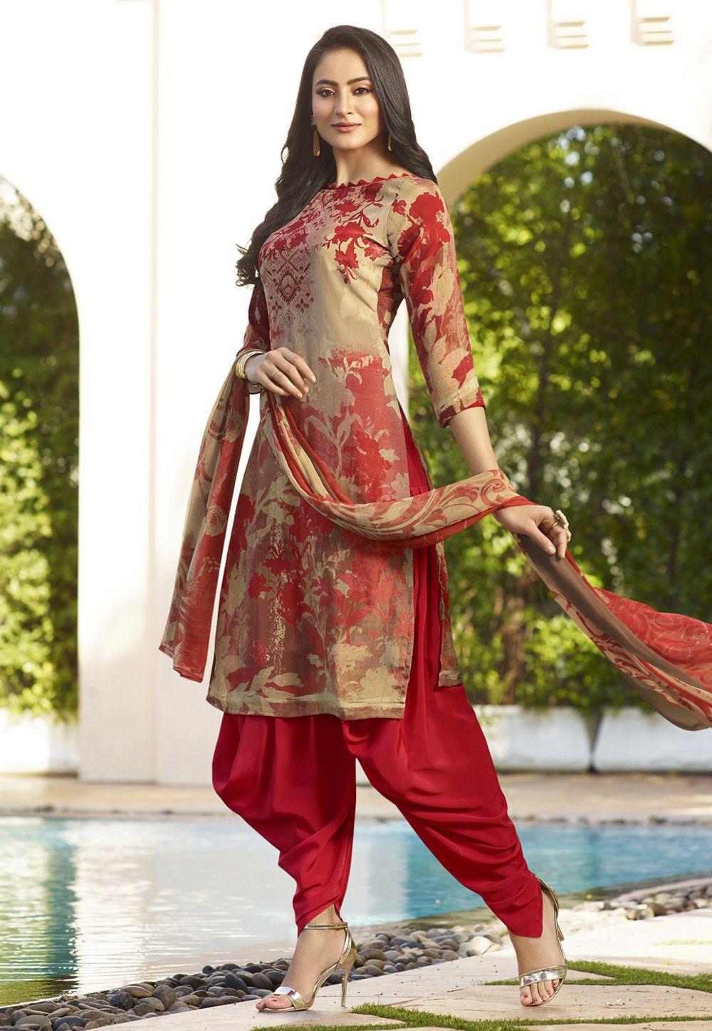 d9795a87ba Buy Beige Crepe Punjabi Suit 156650 online at lowest price from huge  collection of salwar kameez at Indianclothstore.com.