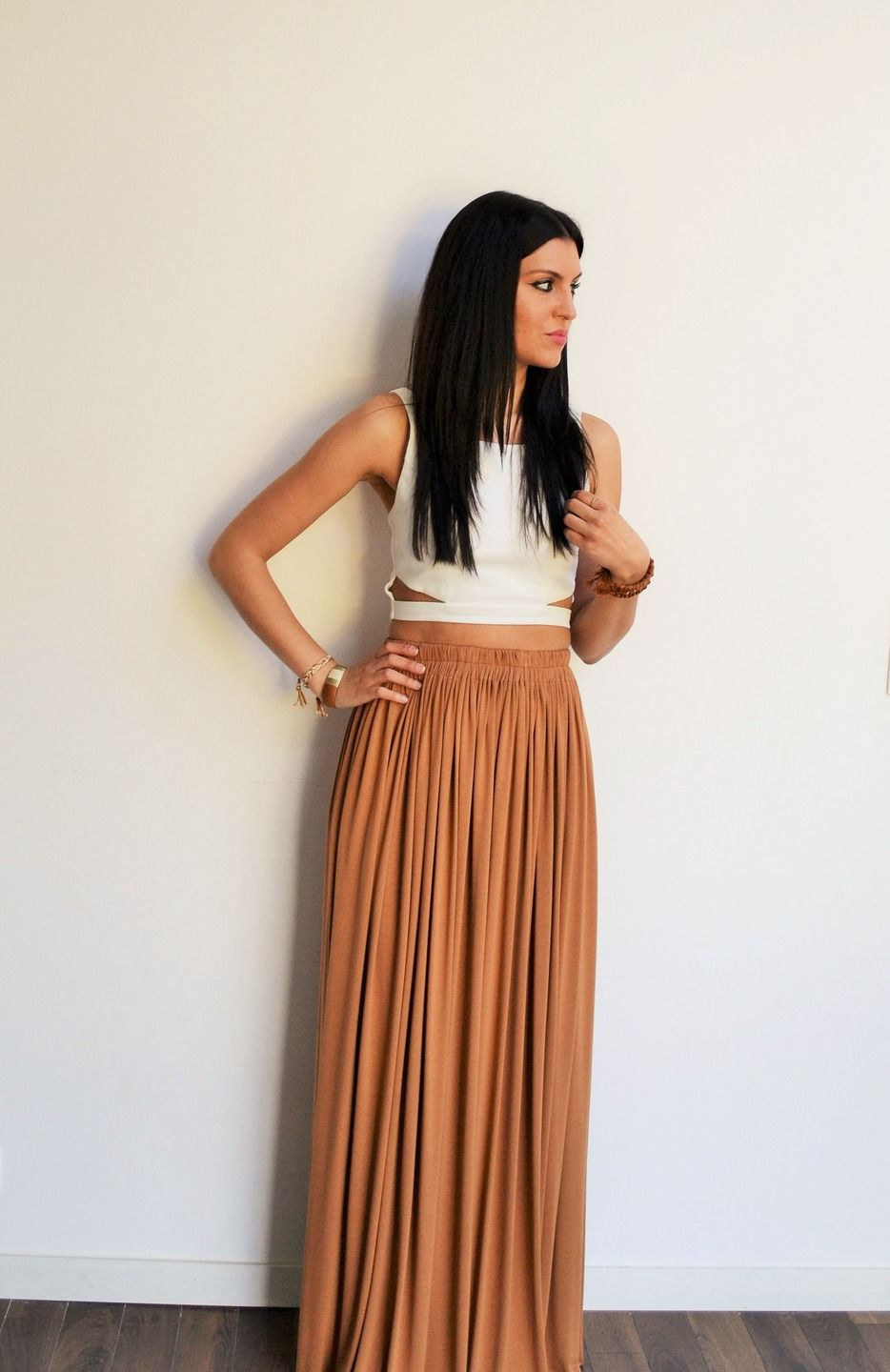 maxi long skirt camel brown high waist long skirt long flowing skirt bohemian skirt skirt. Black Bedroom Furniture Sets. Home Design Ideas