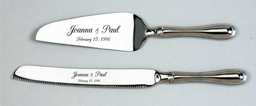 "The traditional design of our ""Westwood"" handle will serve many a wedding guest on that special day. The 2 piece set includes a cake knife and a cake server/lifter, both with our matching ""Westwood"" handles.   Finished in a non-tarnishing, brightly polished nickel-plate. The cake server is 10.25"" L and the knife is 12"" L. Gift Boxed.   $ 56.00"