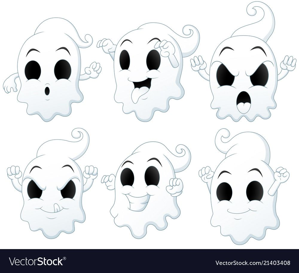 Scary white ghosts design on black background Halloween