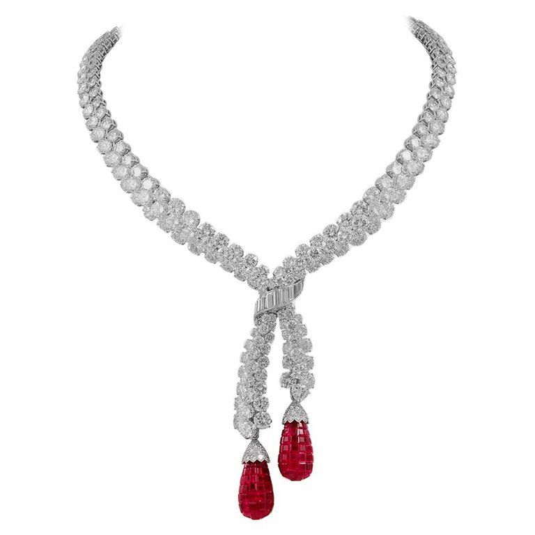 5479148df Van Cleef and Arpels Diamond Ruby Mystery Set Necklace in 2019 ...