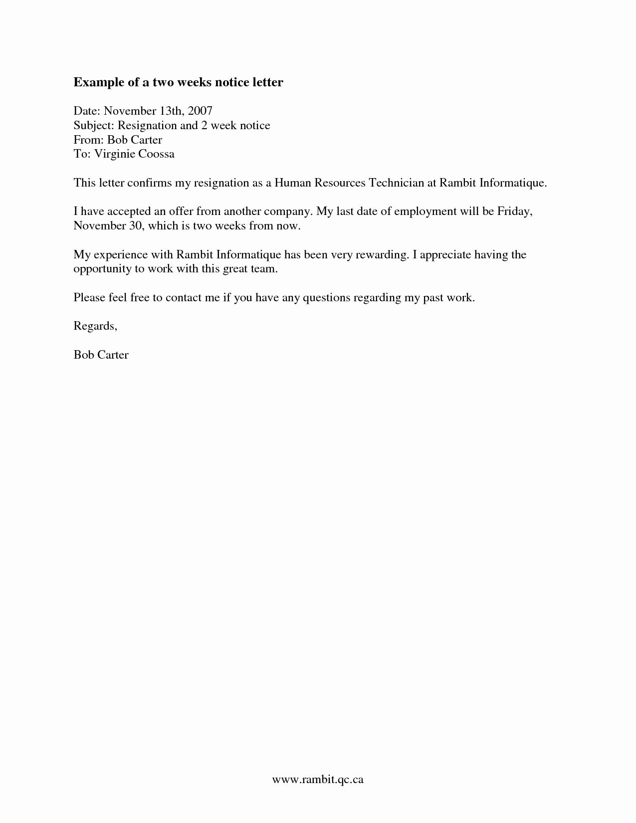 2 Weeks Notice Letter format Beautiful Two Weeks Notice