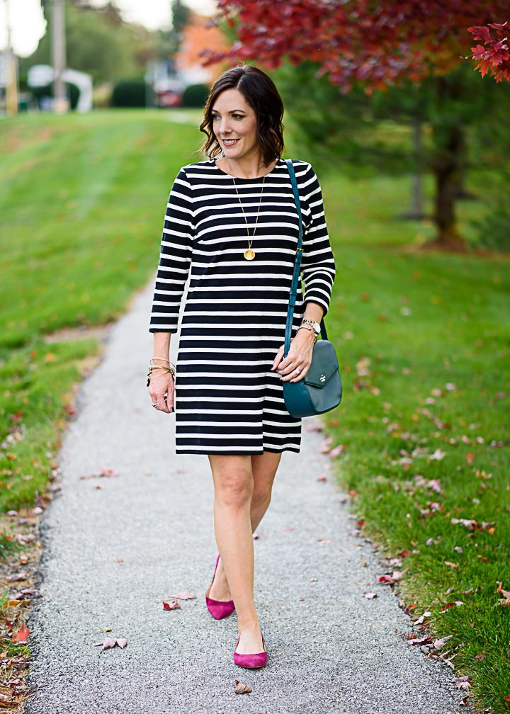 387083ef8c How to Wear a Black and White Striped Dress for Fall  with pink suede flats  and teal crossbody bag