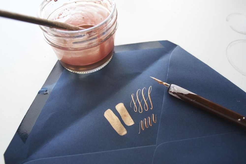 Double Dipped Calligraphy   Mixing Metallics