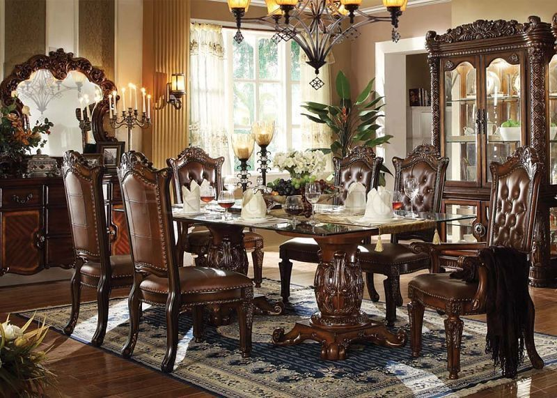Formal Traditional Vendome Cherry 7 Pc Double Pedesta Dining Room Endearing Traditional Dining Room Chairs Design Ideas