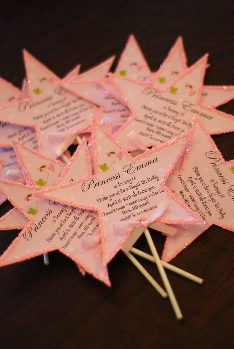 handmadest birthday party invitations%0A  papercraft  party  invitations Princess Wand Birthday Tea Party Invitations