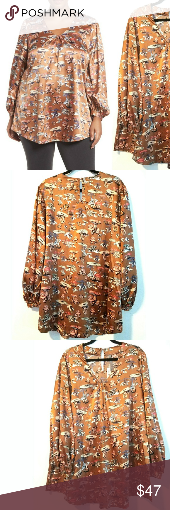 b9143a7d309 2X Melissa McCarthy Seven7 Mushroom Print Top NWT This 2X Melissa McCarthy  Seven7 Mushroom Print Top is NEW with Tags.