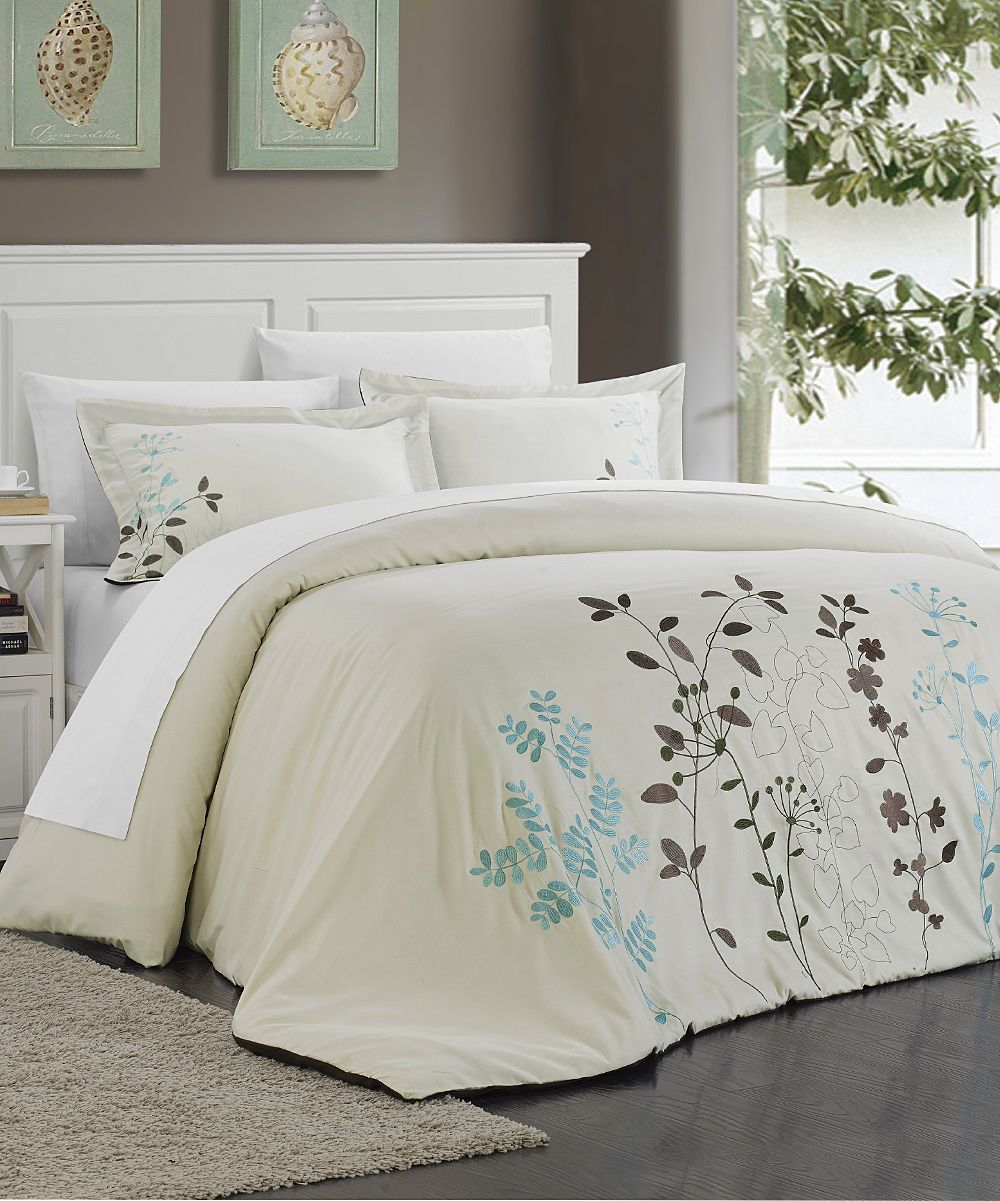 beige kathy floral embroidered duvet cover set beige and products rh pinterest com