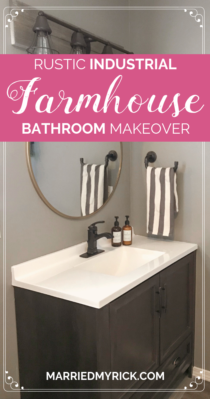 rustic industrial farmhouse bathroom on a budget reveal home rh pinterest com