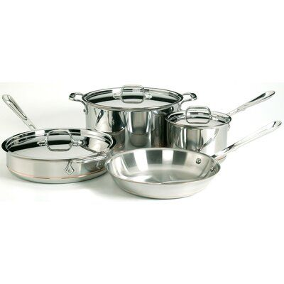 All Clad All Clad Copper Core 7 Piece Cookware Set In 2021 Cookware Set Stainless Steel Stainless Steel Cookware Safest Cookware All clad 7 piece set