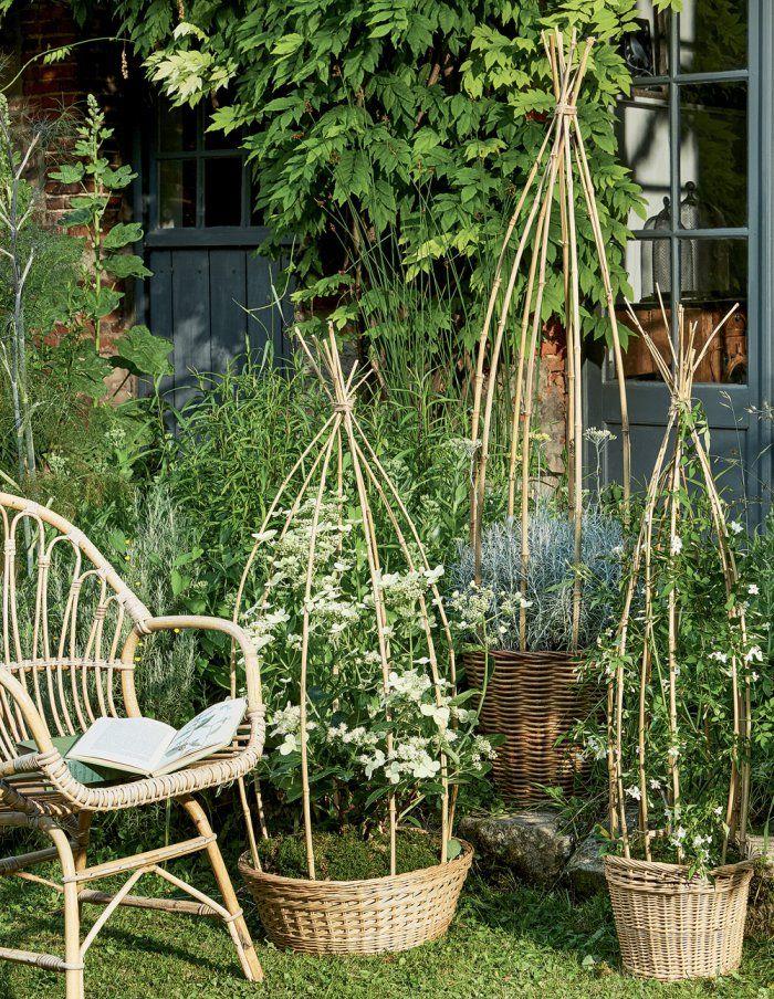 faire des paniers tuteurs en bambou pour le jardin bambou panier et le jardin. Black Bedroom Furniture Sets. Home Design Ideas