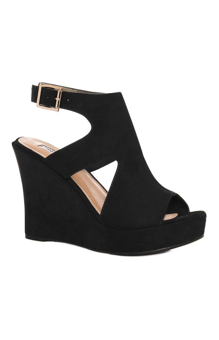 Black Cutout Wedge Heel Black Heels Wedges Wedge Heels Wedges