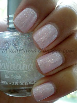 Swatch of Sally Hansen Hard-Core Party with Jordana's Crystal Glitter on top.