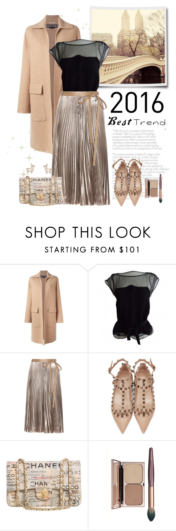 """""""Best Trend of 2016: Pleated Metallic Velvet Skirt"""" by frechelibelle ❤ liked on Polyvore featuring Rochas, Louis Vuitton, Valentino and Chanel"""