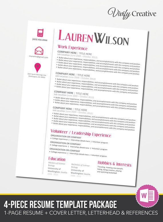 Resume Template Download Editable Cover Letter By Vivifycreative