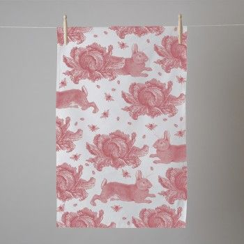 Thornback & Peel Pink Rabbit & Cabbage Tea Towel