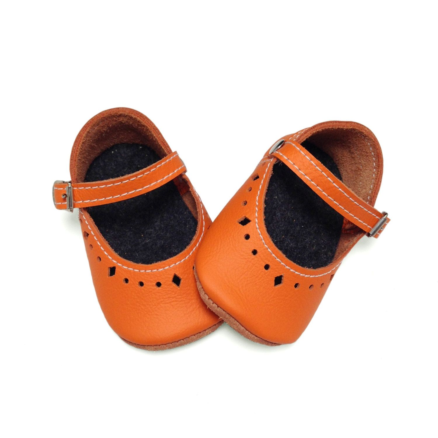 Orange leather soft soled baby shoes Infant shoes Mary Janes by