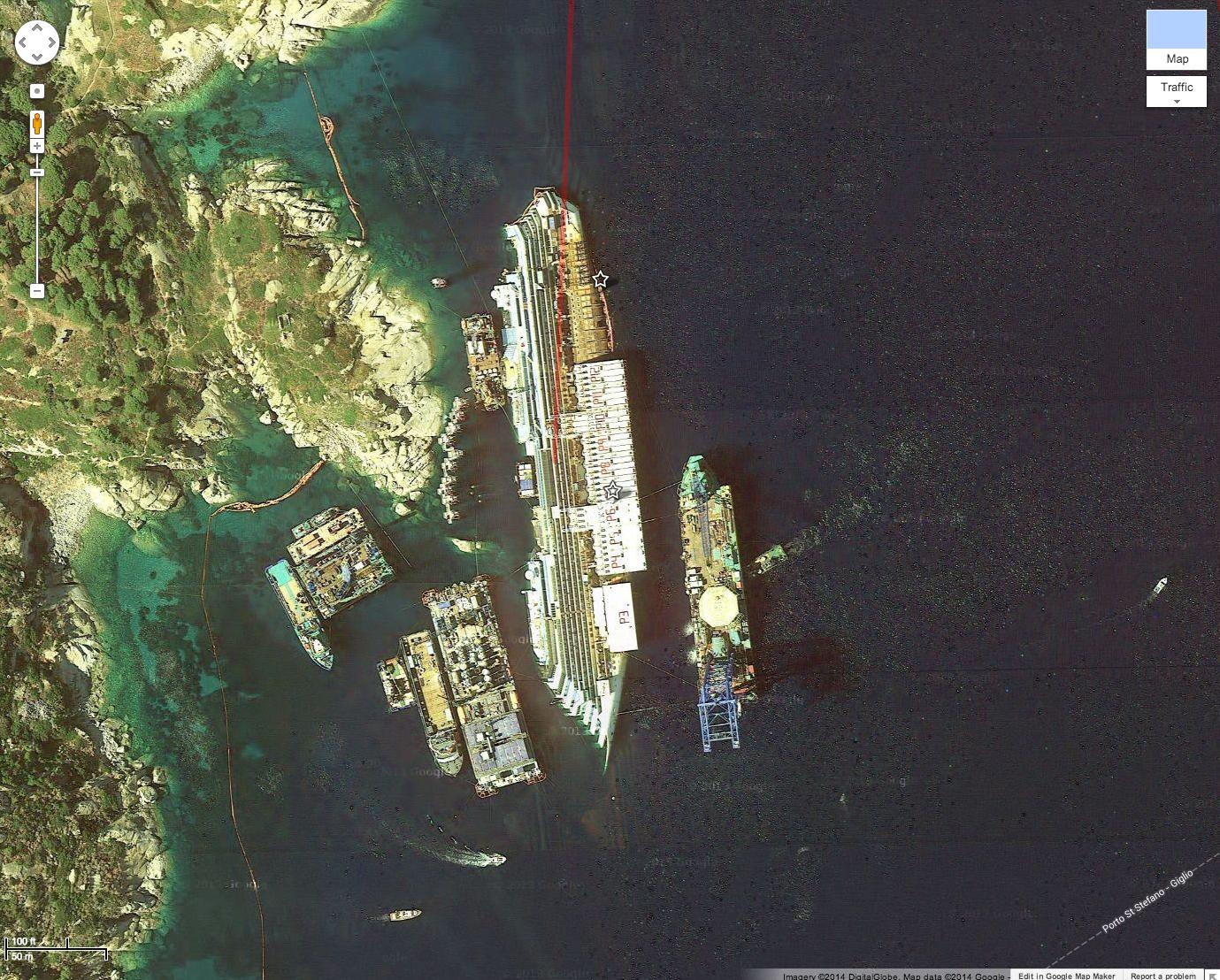 Costa Concordia wreckage on Google Maps Costa