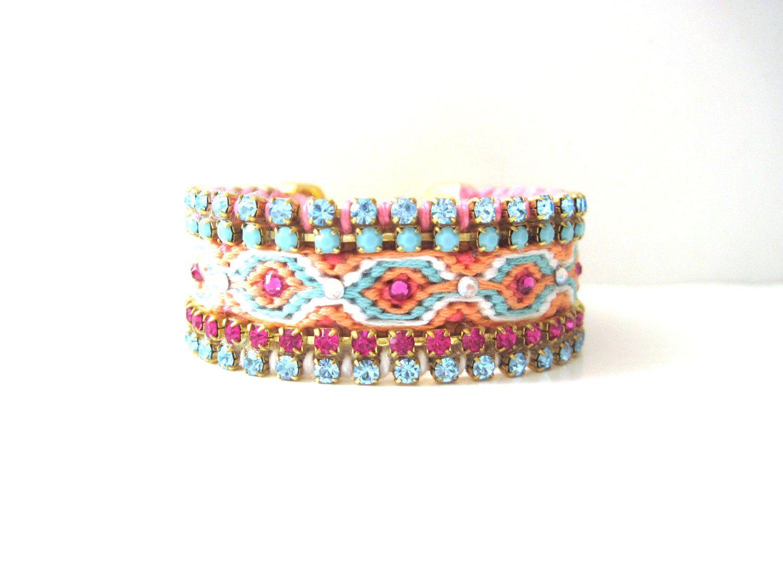 Luxury friendship cuff bracelet - small friendship cuff with swarovski crystals, boho cuff, OOAK. $115,00, via Etsy.