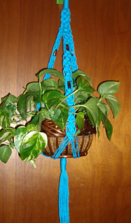 Macrame Plant Hanger Flower Pot Holder Ocean Blue With Walnut Beads Indoor  / Outdoor Macrame Flower