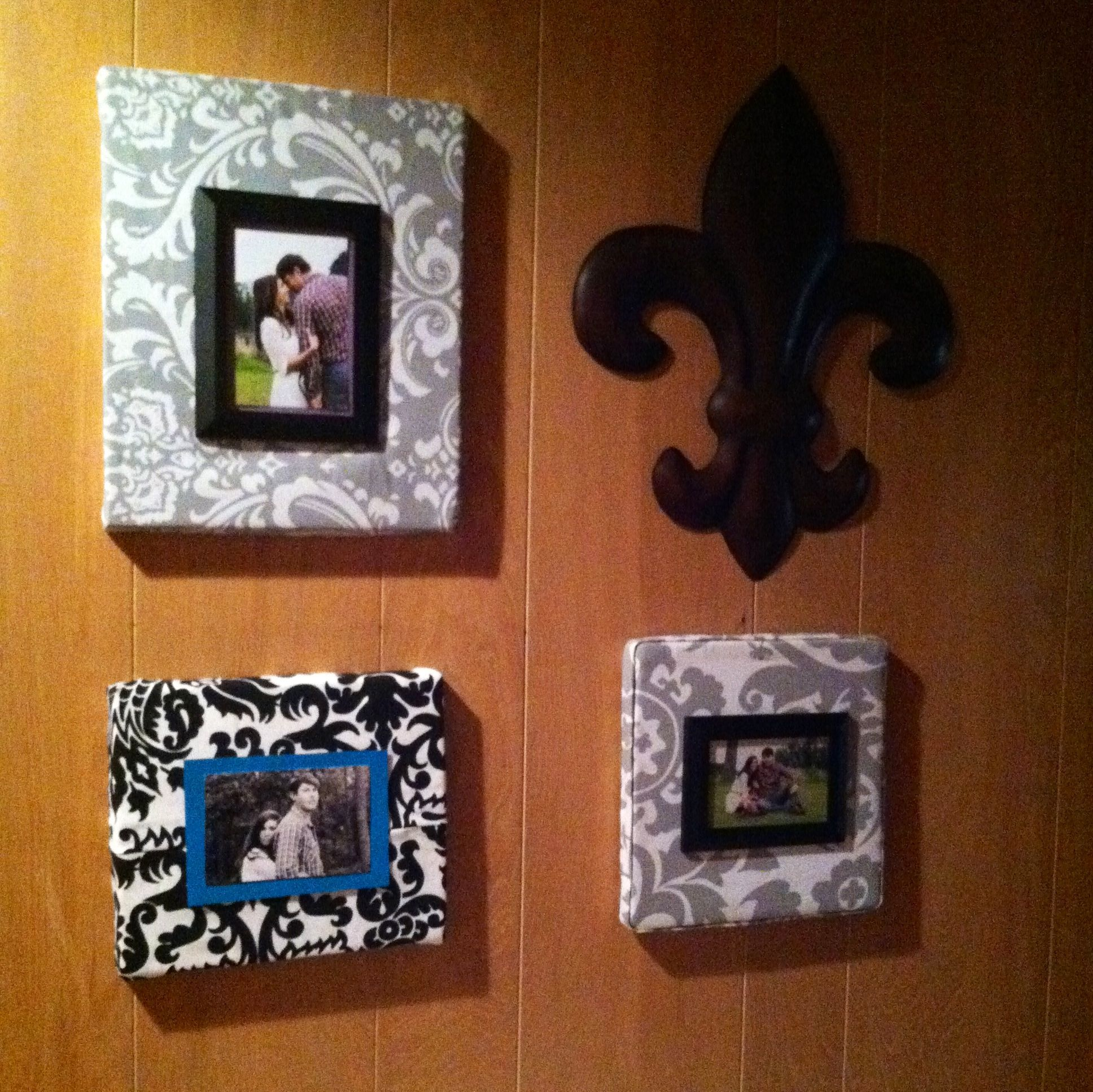 Fabric covered shoe box lid photo frames