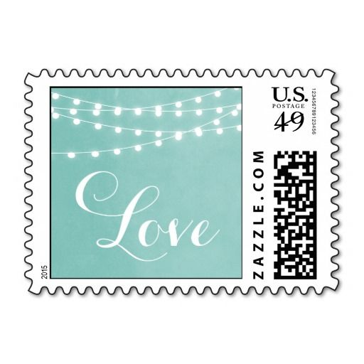 Summer String Lights Wedding Love Stamp