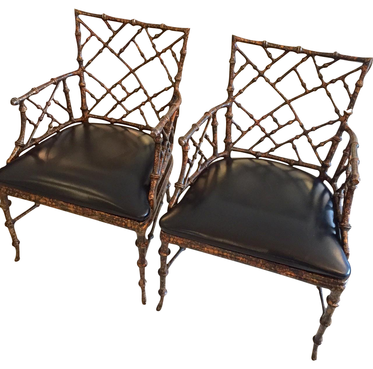 chippendale style painted iron chairs a pair on chairish com for rh pinterest ca