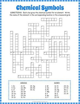 Chemical symbols crossword puzzle student learning periodic table have you chemistry students learn and review the chemical symbols for 36 elements with this fun crossword puzzle activity the clue gives the symbol and urtaz Images