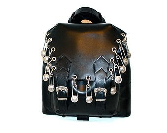 Vintage GIANNI VERSACE Couture Safety Pin Bag Black Leather Medusa Backpack  -AUTHENTIC- 1a525257d0ee9