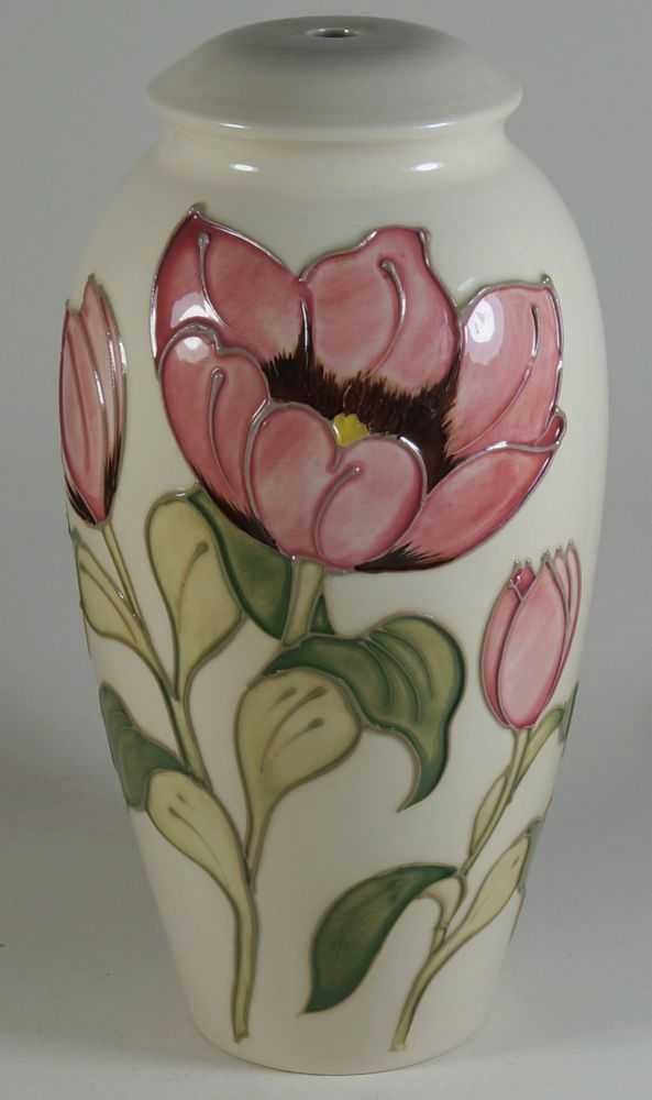 Moorcroft Pottery Magnolia Pink On Cream Large Table Lamp Base
