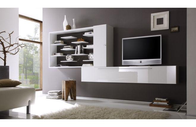 Mobile porta TV a parete Design bianco e grigio scuro XENON ...