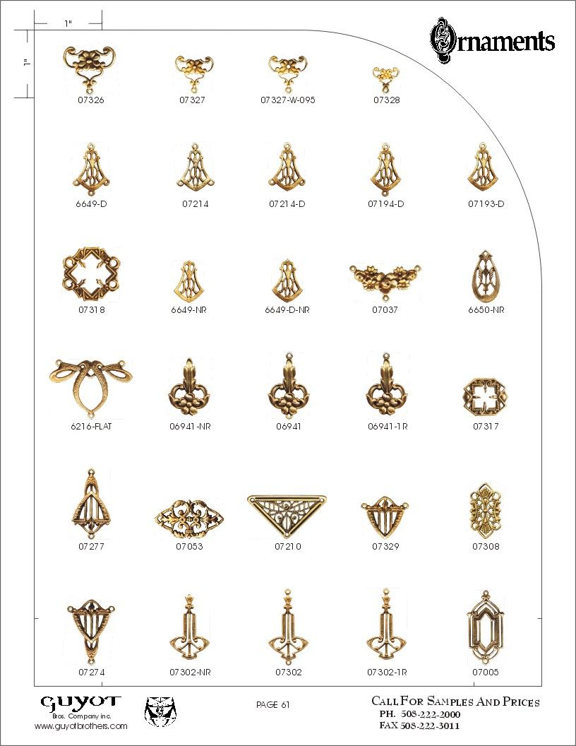 A catalog page of assorted decorative jewelry findings icluding
