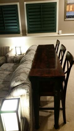 behind the couch bar table table behind couch table. Black Bedroom Furniture Sets. Home Design Ideas