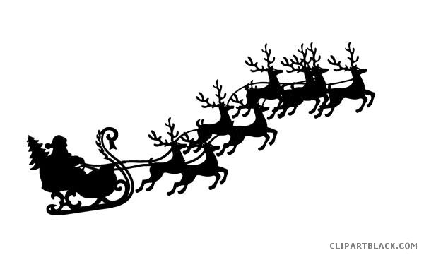 Clipart Reindeer Silhouette 1008 Reindeer And Sleigh Reindeer Silhouette Santa And His Reindeer