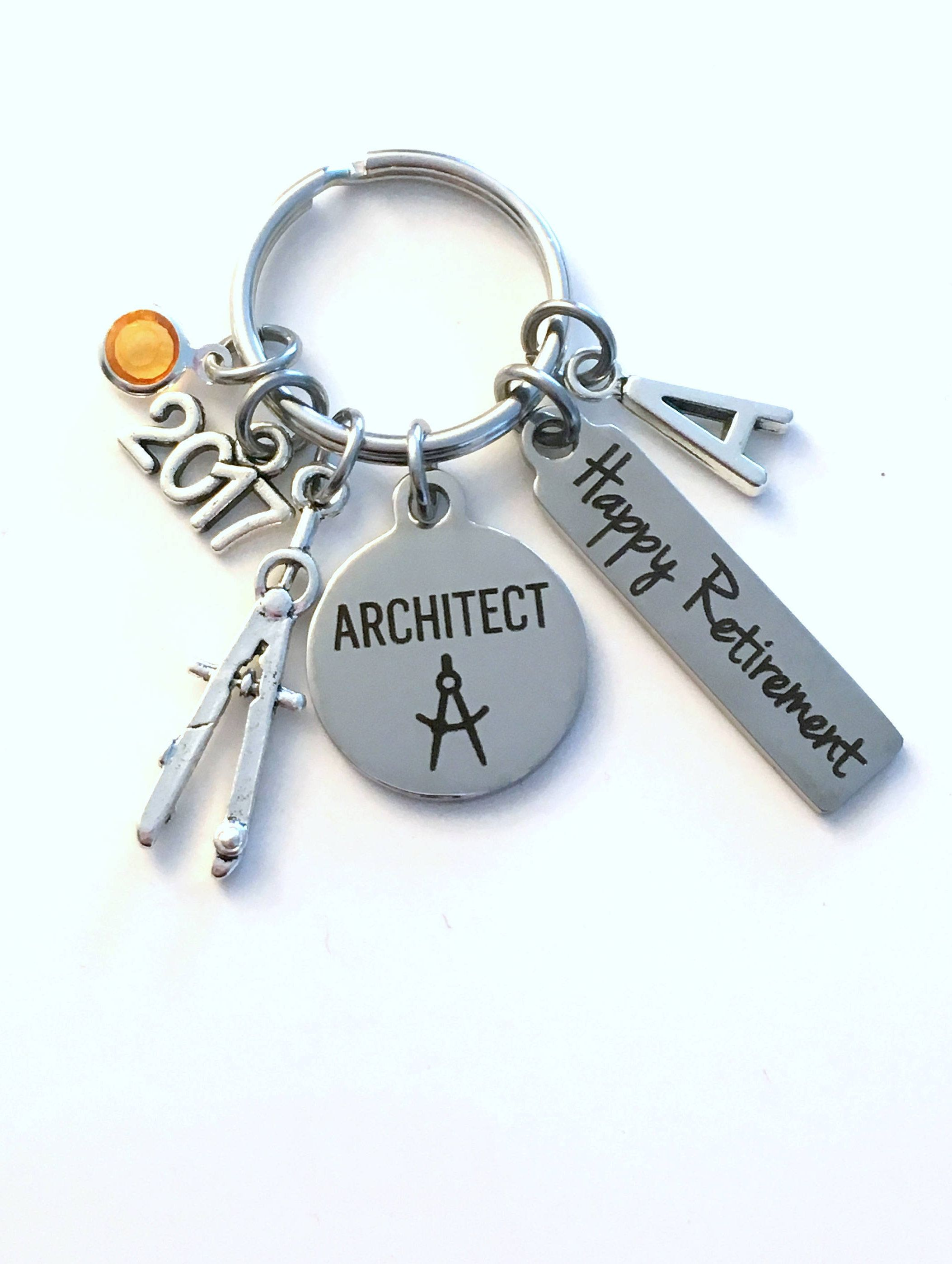 Retirement Gift for Architect Key Chain Compass