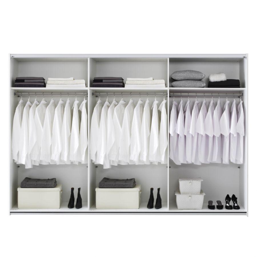 Schwebetürenschrank Division - Weiß/Teilverspiegelt mit Silbernem Gitterdruck - Schrankbreite: 236 cm