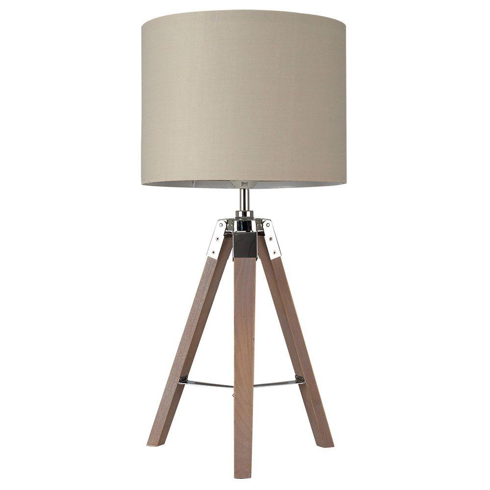 wooden chrome tripod table lamp homeware inspiration homeware rh pinterest ca