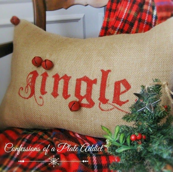 CONFESSIONS OF A PLATE ADDICT: A Handmade Christmas...Pottery Barn Inspired Jingle Pillow