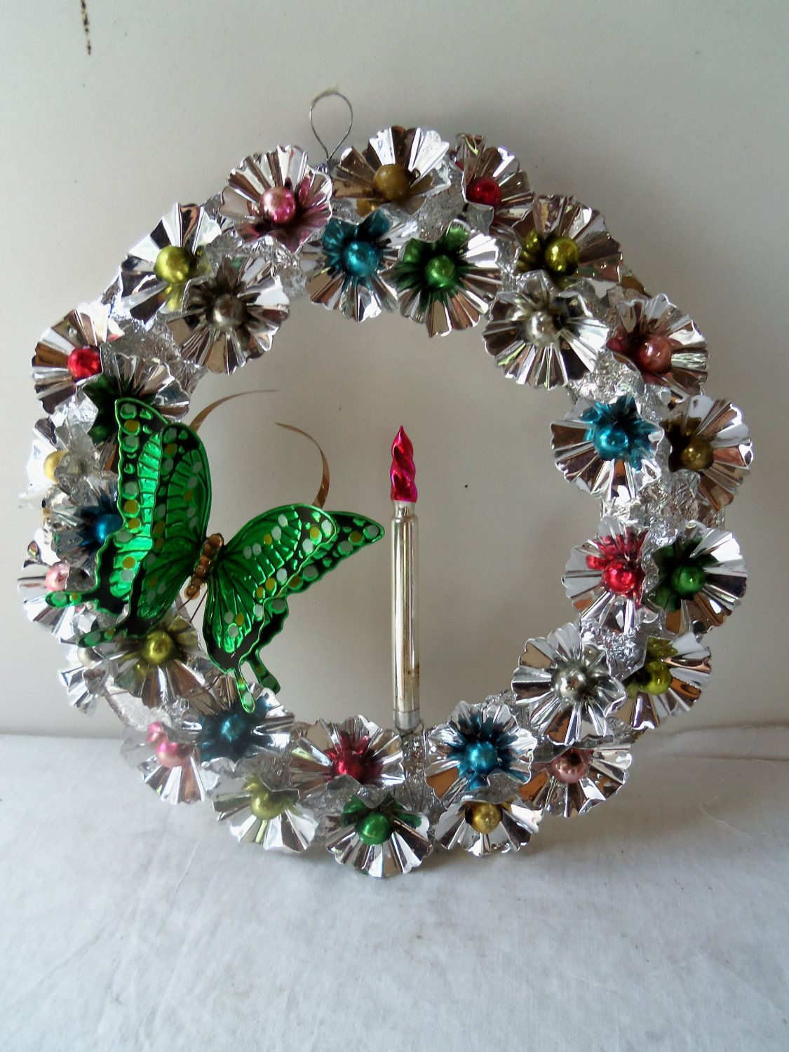 Vintage Christmas Foil and Metal Wreath Mercury