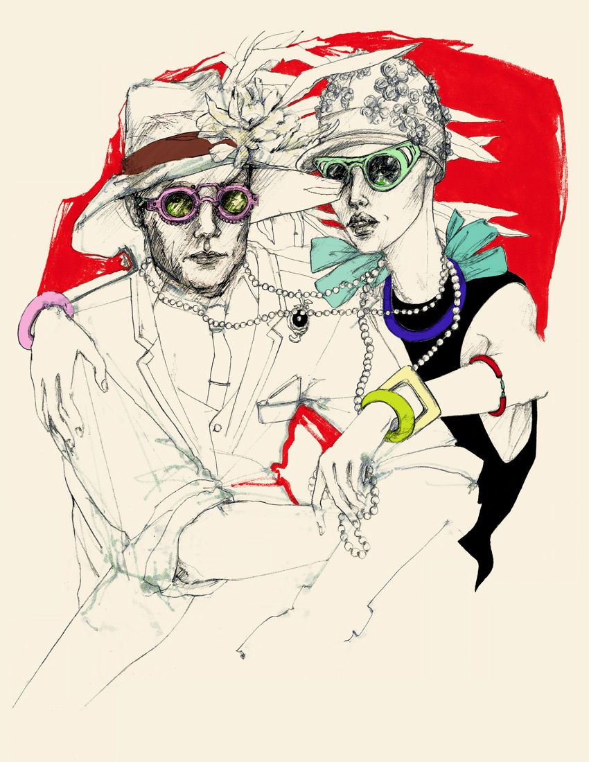 """The Honeymooners."" Fashion illustration by Myrtle Quillamor. New York, 2013."