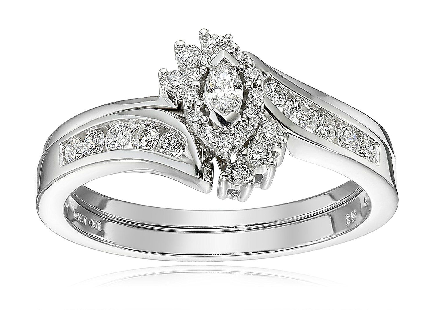 10k White Gold Marquise And Round Diamond Byp Ring With Interlocking Band Bridal Set 0 33
