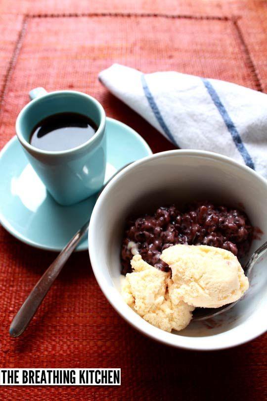 "Black ""forbidden"" rice pudding with ice cream and espresso"