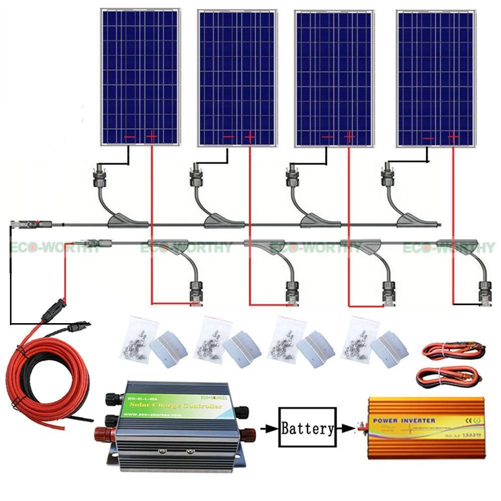 Here For Sale Is 400w 4 100w Solar Panel Off Grid System Kit This Is A Fully Self Powered Off Grid System High Ef Solar Panels Off Grid System Solar Projects