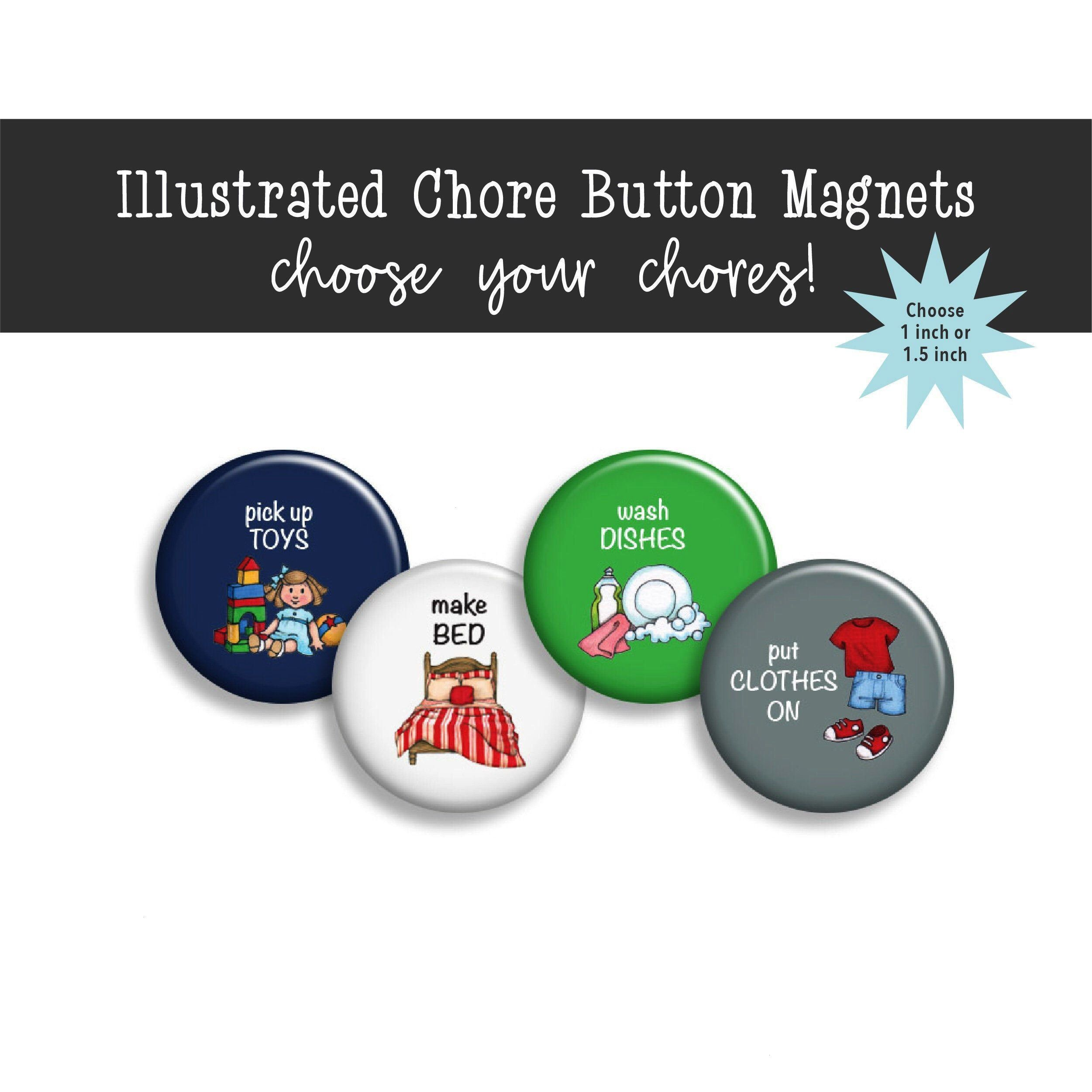 Button Magnets Boy Chore Magnets Blue and Green Chore Magnets Chore Magnets Task Magnets Refrigerator Magnets Excited to share this item from my shop Chore Button Magnets...