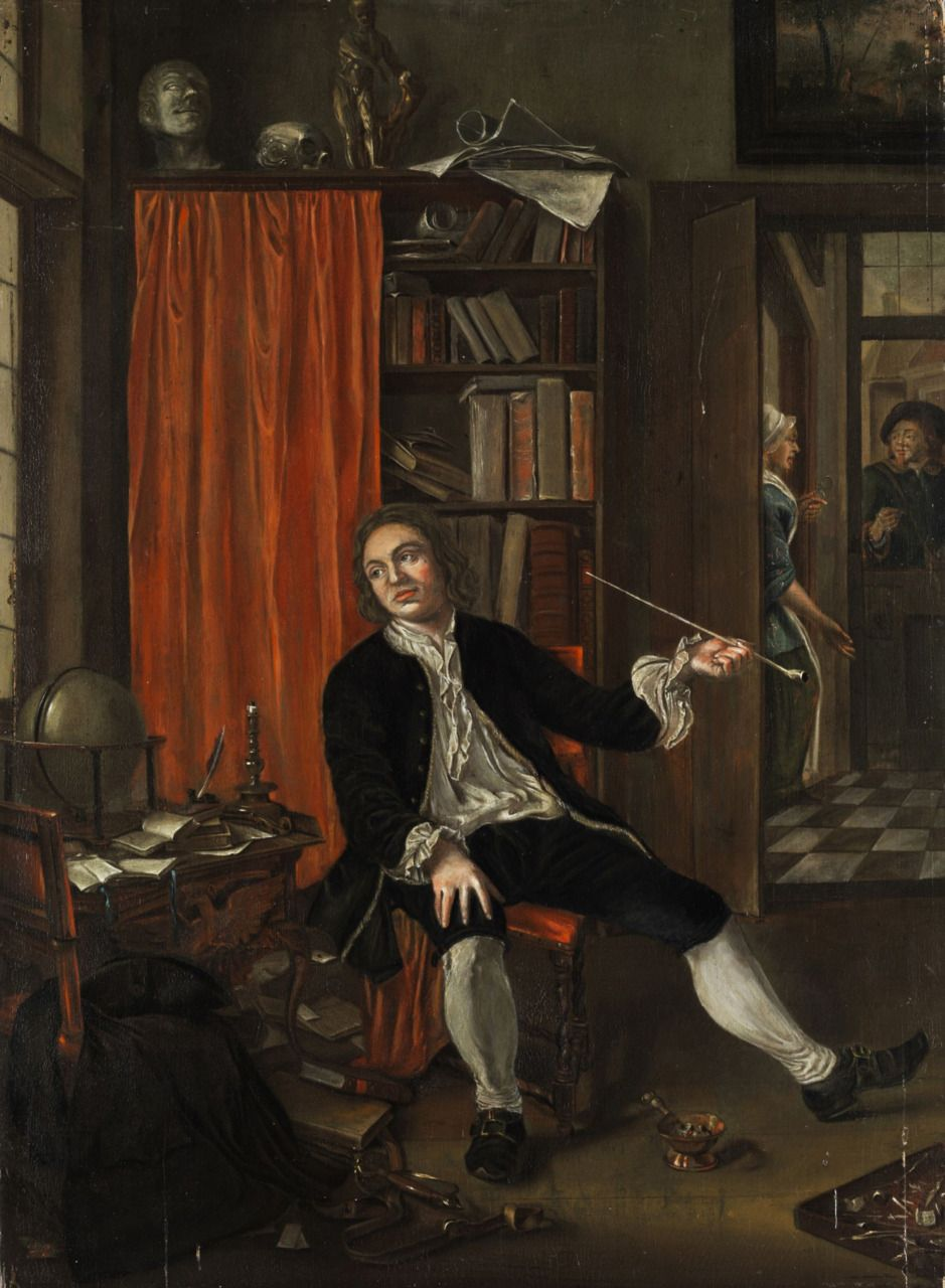 Pipe Smoking Gentleman In A Scholars Cabinet By Anonymous North