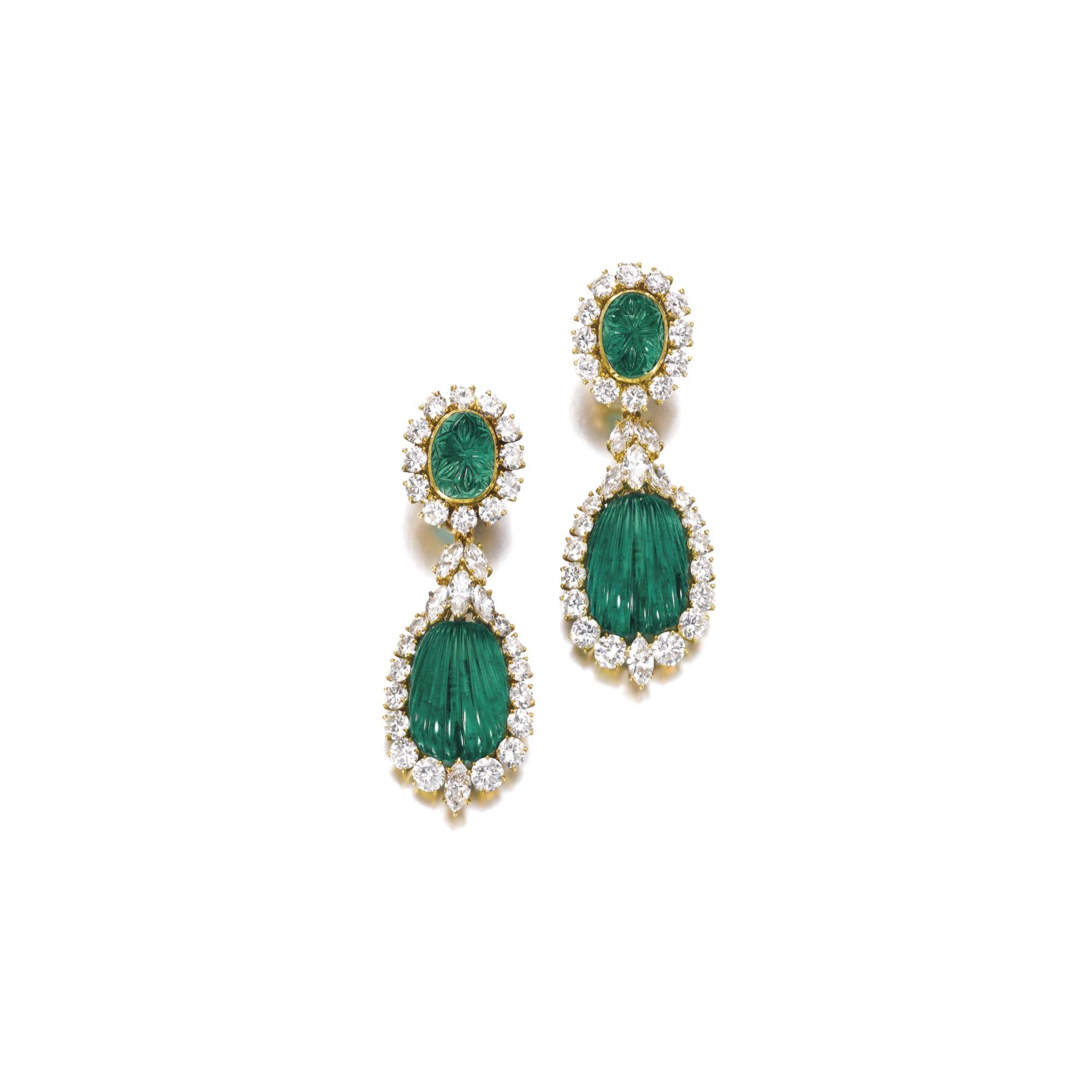 Pair of emerald and diamond pendent earrings van cleef u arpels